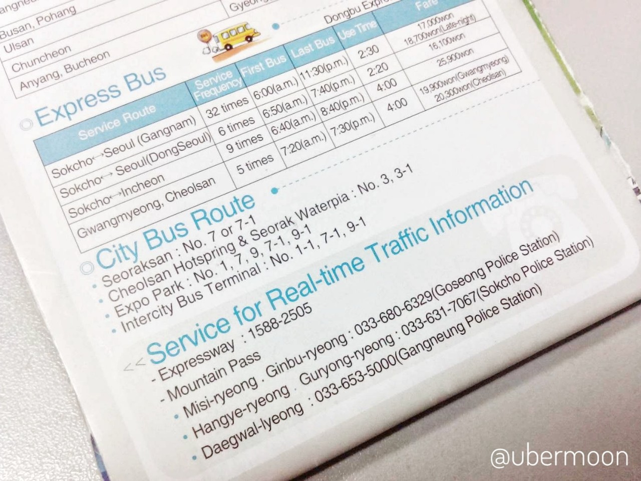 Jadwal Bus di Sokcho